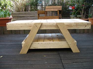 Salon de jardin palette table