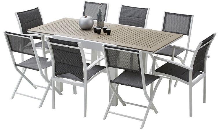 Salon de jardin - table + 4 fauteuils aluminium et composite