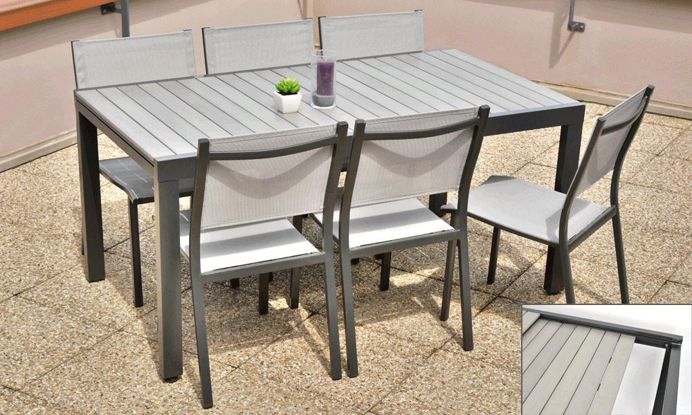 Salon de jardin alu bois composite