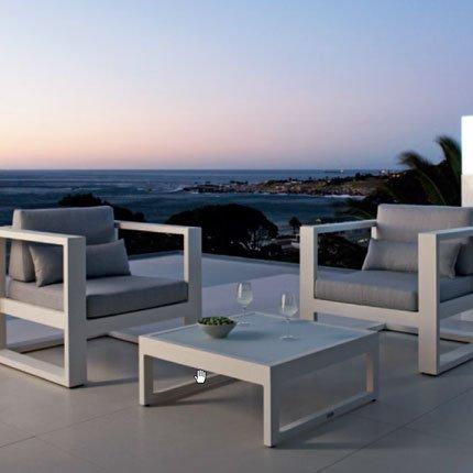 Salon de jardin aluminium clair - Mobilier de jardin et terasse
