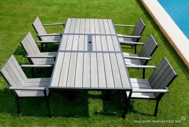 Table De Jardin En Aluminium Avec Rallonge. Good Table Et Chaise De ...