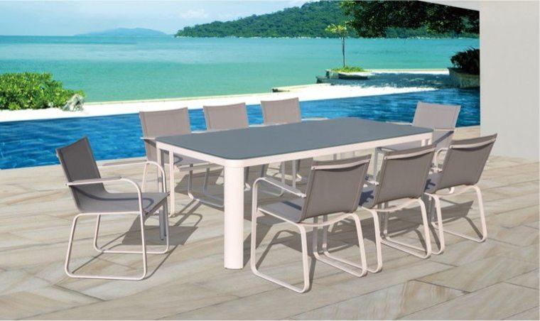 Salon de jardin en aluminium majestic table carrée