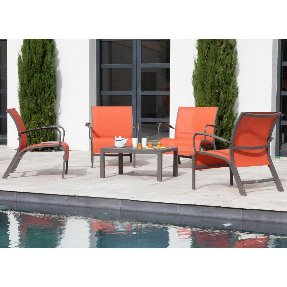 Salon de jardin luxe aluminium 4 places manhattan - Mobilier de ...