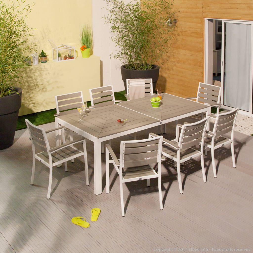 Salon de jardin aluminium et bois - Mobilier de jardin et terasse