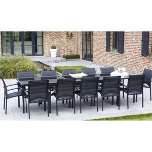 Salon de jardin aluminium et verre noir - Mobilier de jardin et terasse