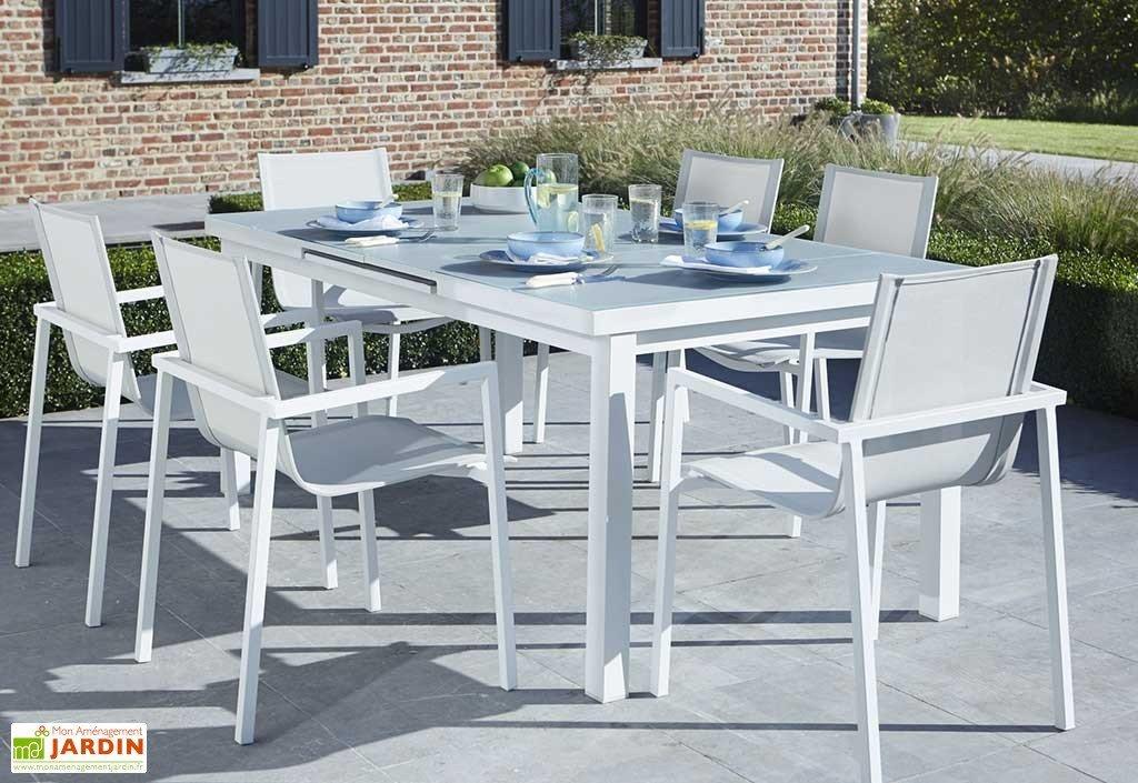 Salon de jardin aluminium table ronde - Mobilier de jardin ...