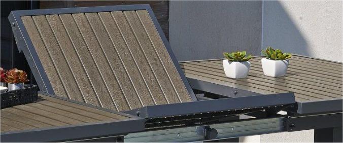 Salon de jardin aluminium bois composite mobilier de - Table de jardin alu et bois composite ...