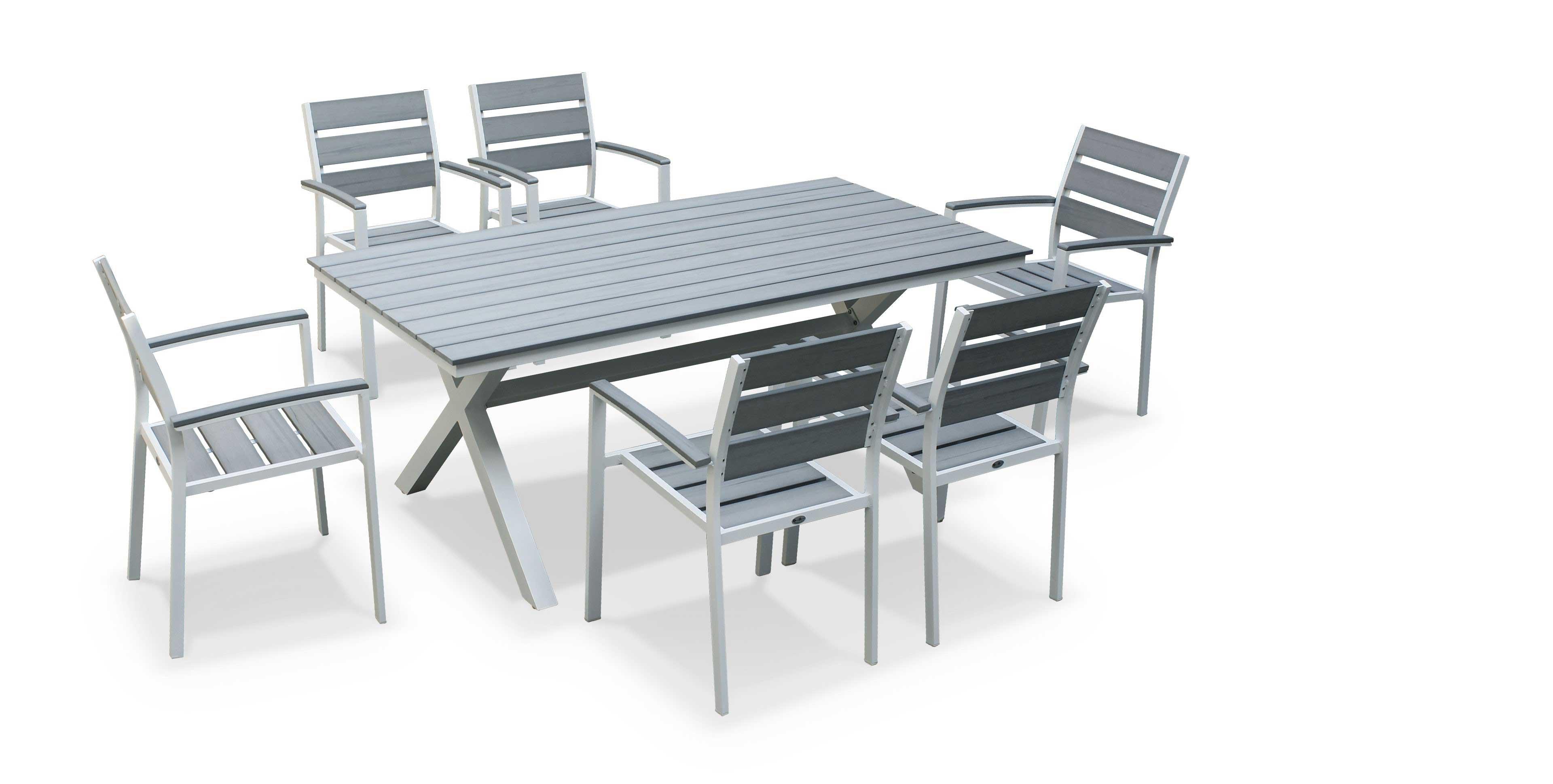 Salon de jardin alu textilène 6 places gris florence - Mobilier de ...
