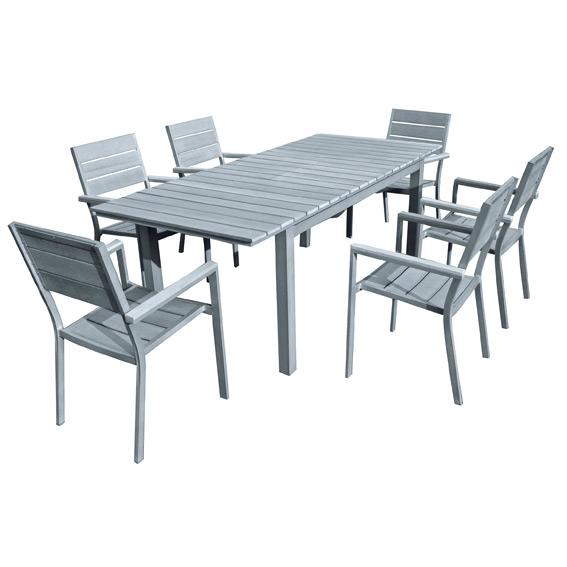 Salon de jardin aluminium marino