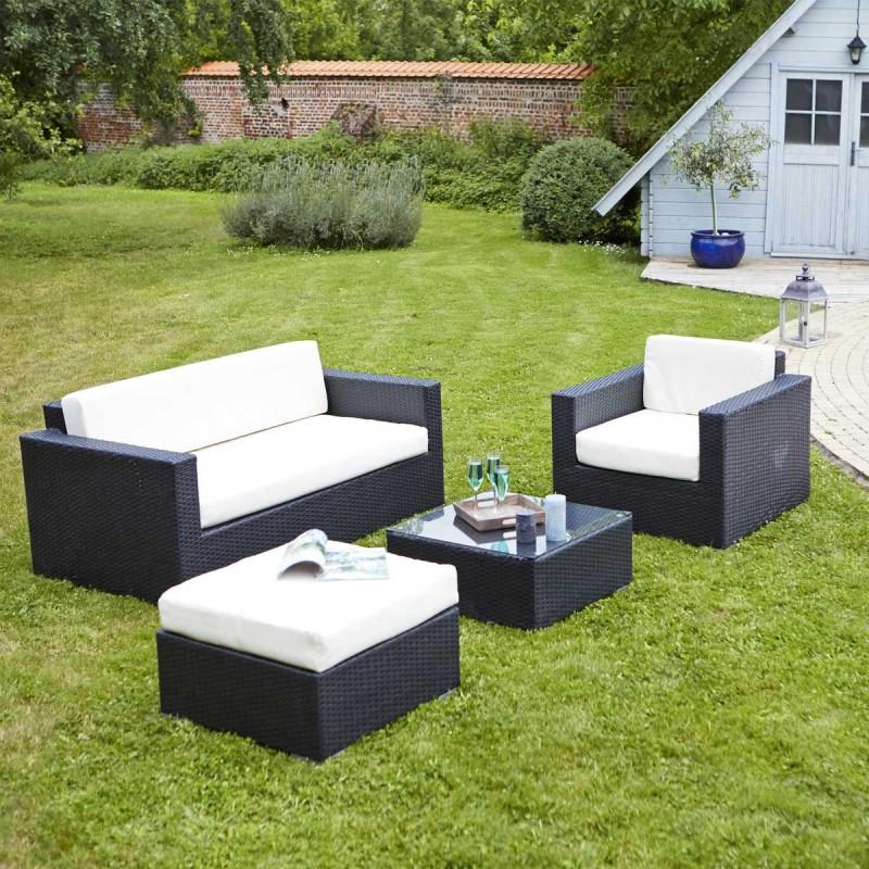 Salon de jardin 6 pièces arlena tressé noir - Mobilier de jardin et ...