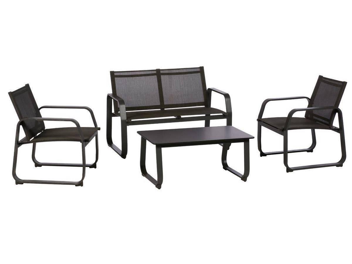 Salon de jardin en aluminium gris anthracite - Mobilier de ...