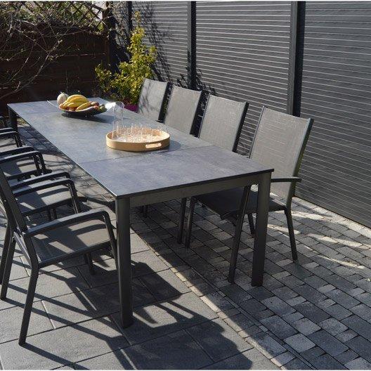 Salon de jardin aluminium et verre noir - Mobilier de jardin ...