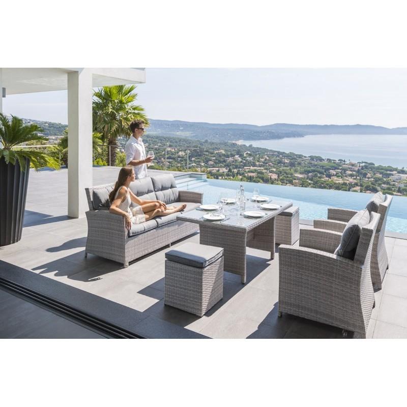 Salon de jardin haut santiago en aluminium
