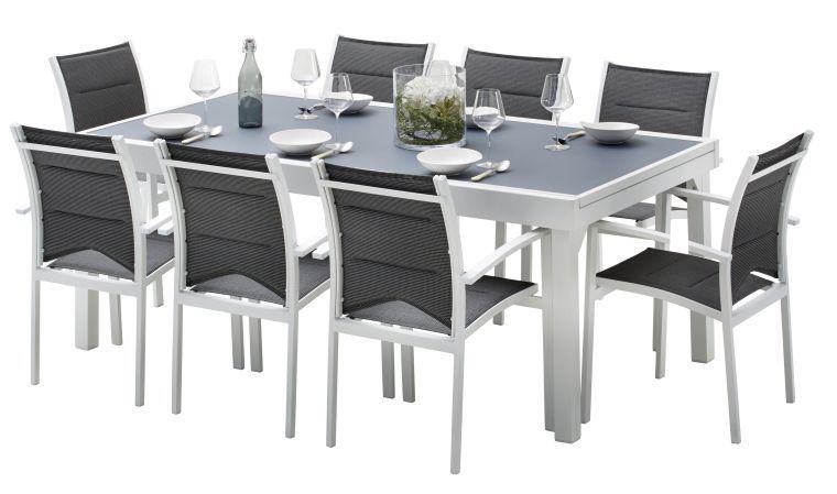 Salon de jardin aluminium gris et blanc