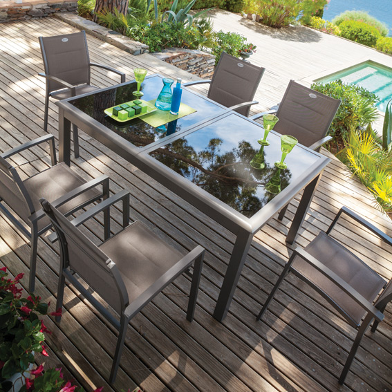 Beautiful Table De Jardin Aluminium Et Verre Hesperide ...