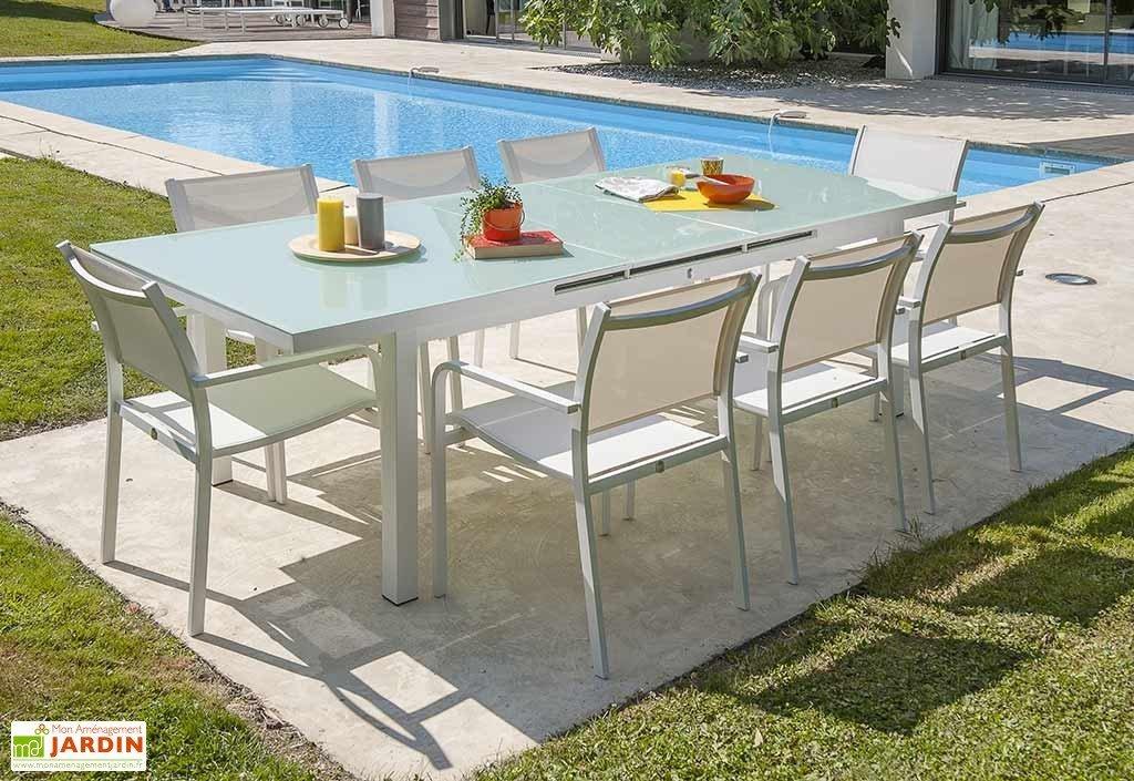 Salon de jardin aluminium et verre blanc - Mobilier de ...